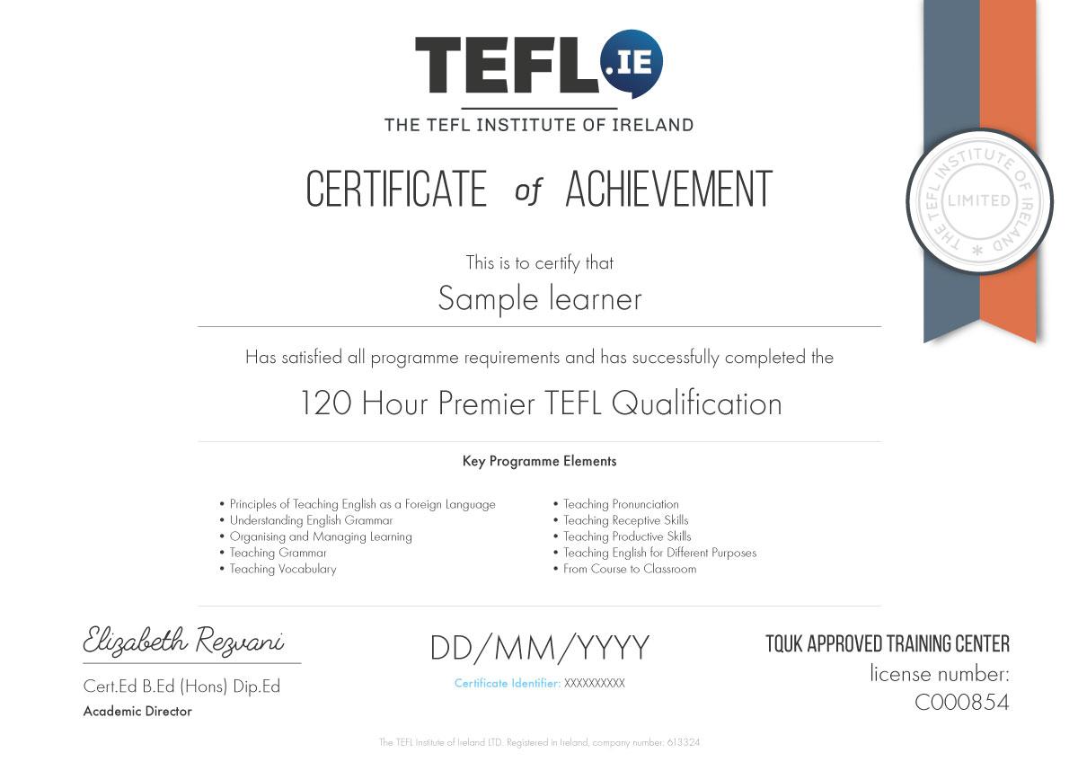 tefl premier cert sample hour course certificate verify