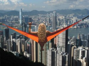 TEFL teachers. Relax with a view of Victoria Harbour before the New Year's Eve celebrations begin in Hong Kong.